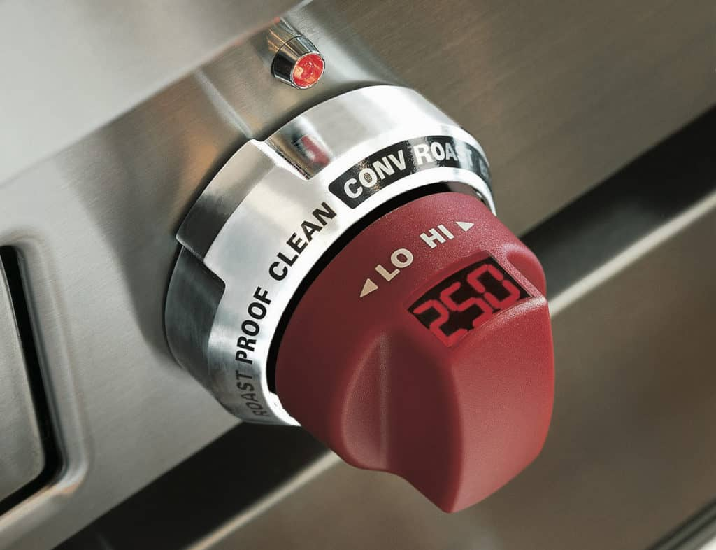 image of Wolf oven knob with built in temperature reading
