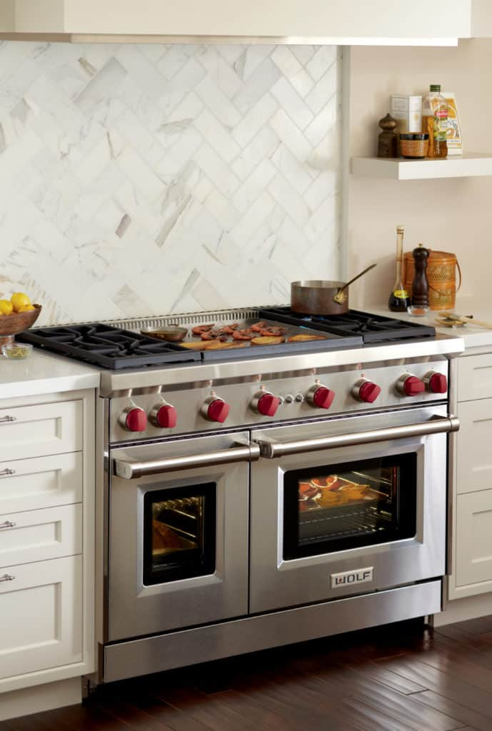 image of the Wolf GR464DG installed in a kitchen