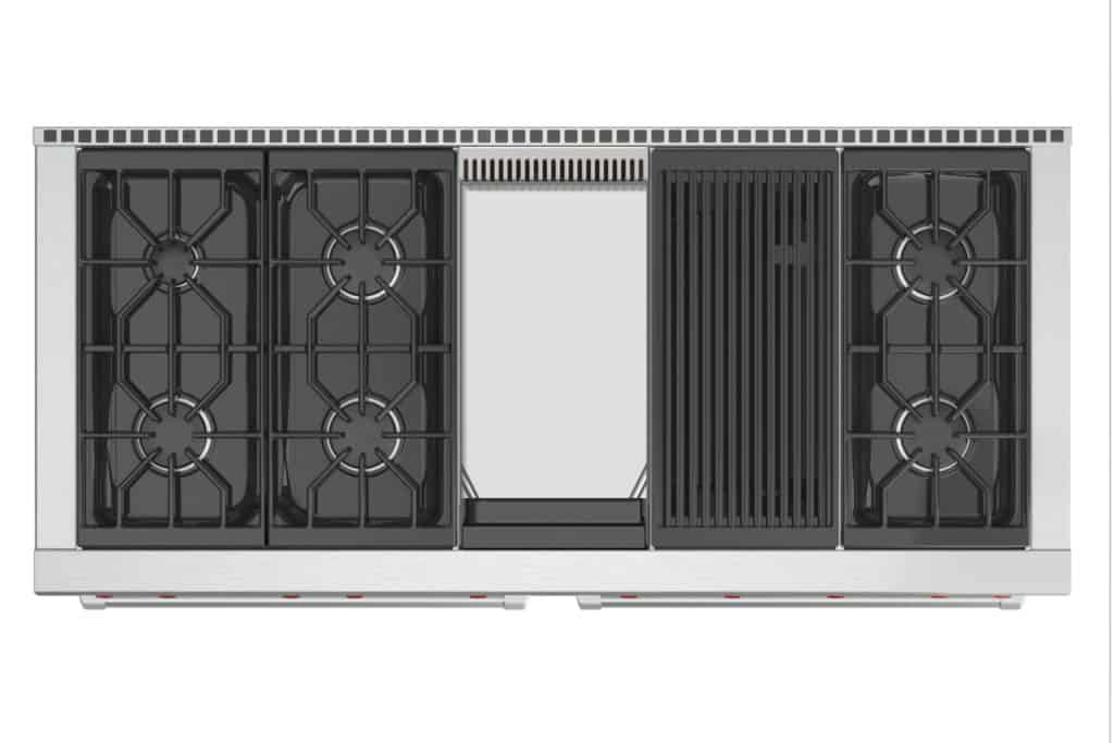 image of Wolf DF606CG 60 inch range from above