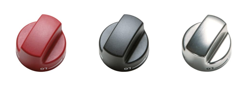 image of the Wolf range knobs in three colors