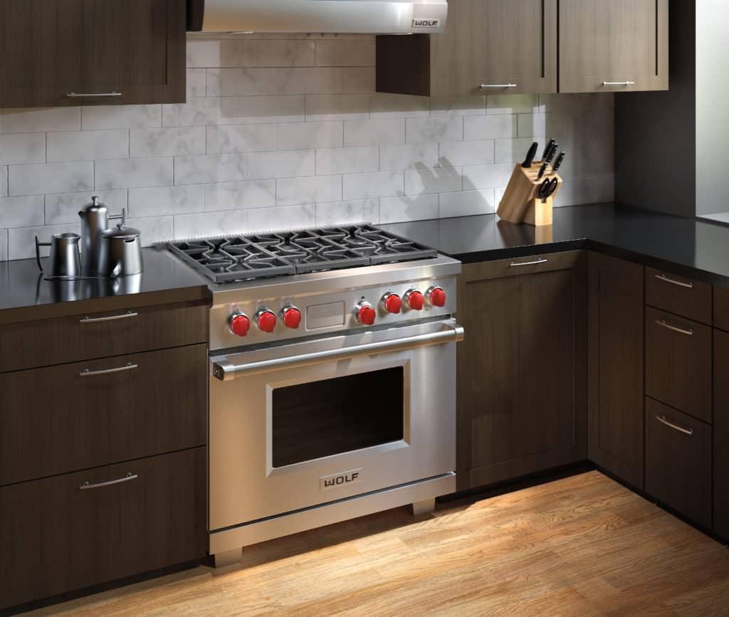 image of Wolf DF366 range installed in a kitchen