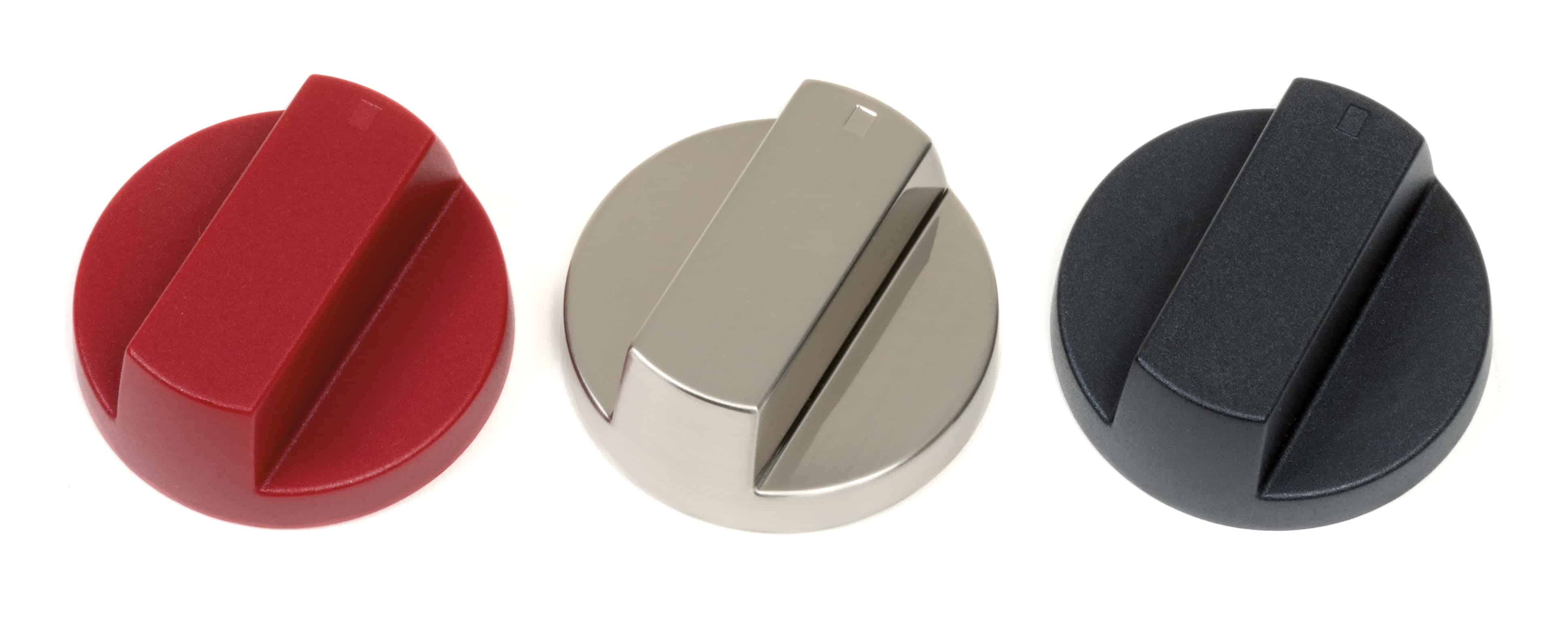 image of the three available oven knob colors for Wolf Gourmet Countertop oven
