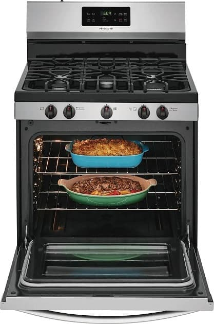 image of Frigidaire FFGF3054TS 30 inch range with oven door and food inside