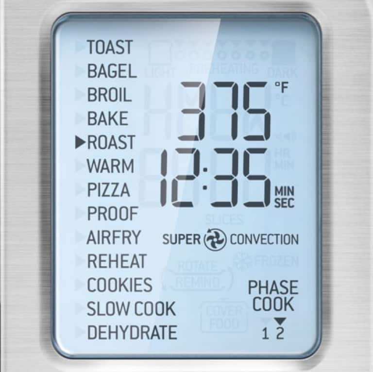 image of the Breville Smart Oven Air LCD oven display and multiple functions