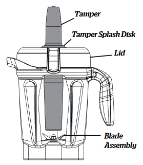 image of the tamper working with the Vitamix 750 blender container