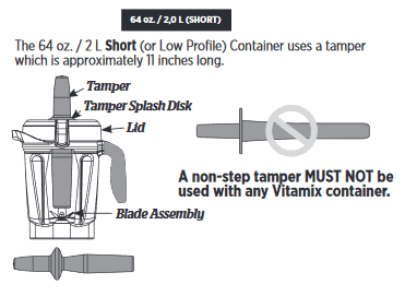 illustration of the Vitamix low profile container and tamper